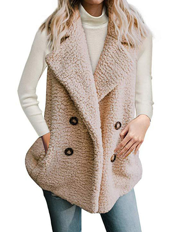 Buttoned Shawl Collar Solid Sleeveless Jacket Teddy Bear Coats