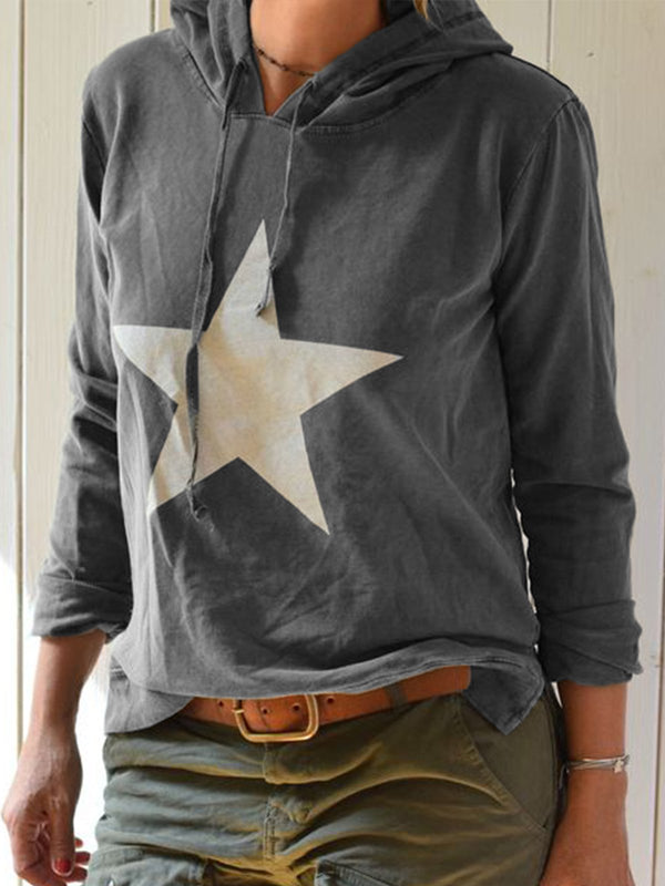 Casual Star Printed Hoodie Long Sleeve Shirt