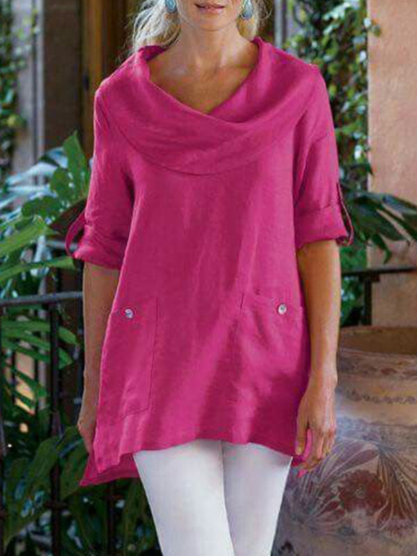 Long Sleeve Cowl Neck Casual Plus Size Blouses