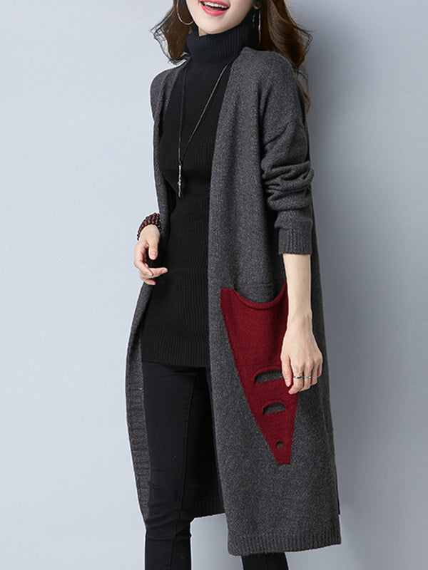 Patchwork Long Sleeve Cotton Cardigans