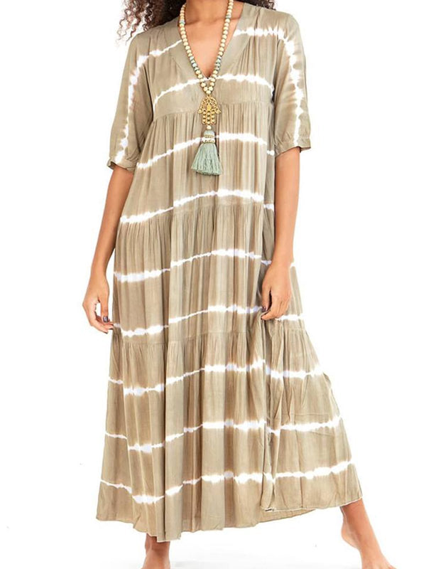 V Neck Women Printed Geometric Maxi Dress