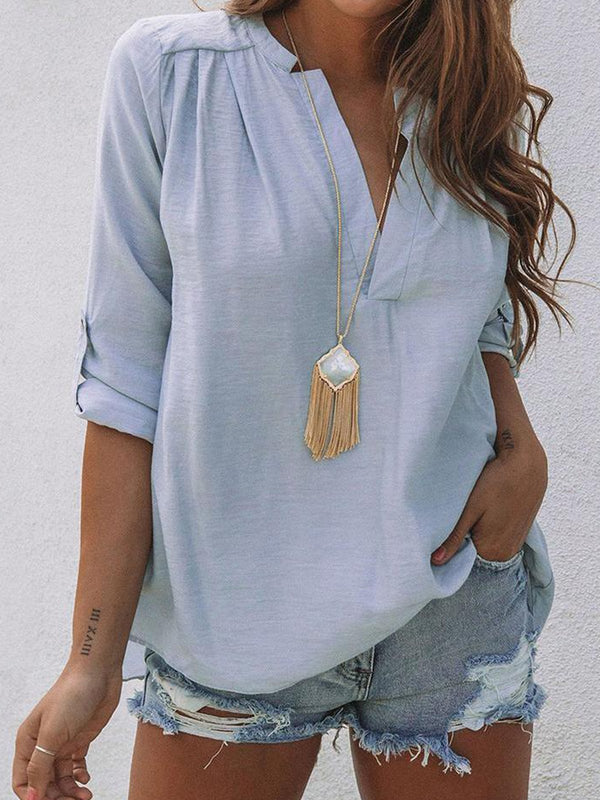 Long Sleeve Solid V Neck Blouse