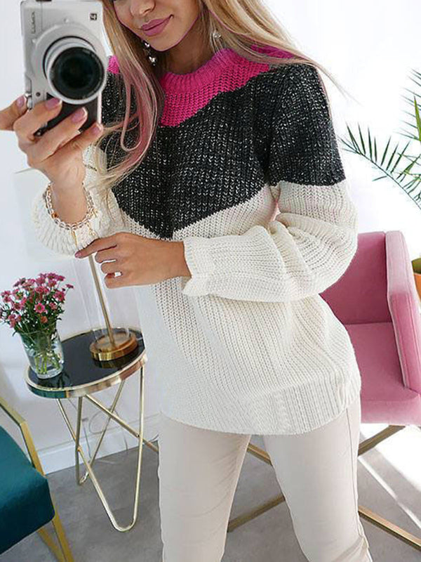 Warm Casual Patchwork Long Sleeve Sweater