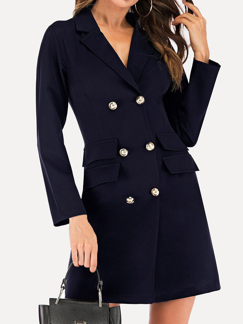 Fashion Spring V-Neck Double Breasted Blazer Dress