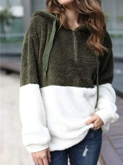 Casual Hoodie Color-block Pockets Long Sleeve Outerwear