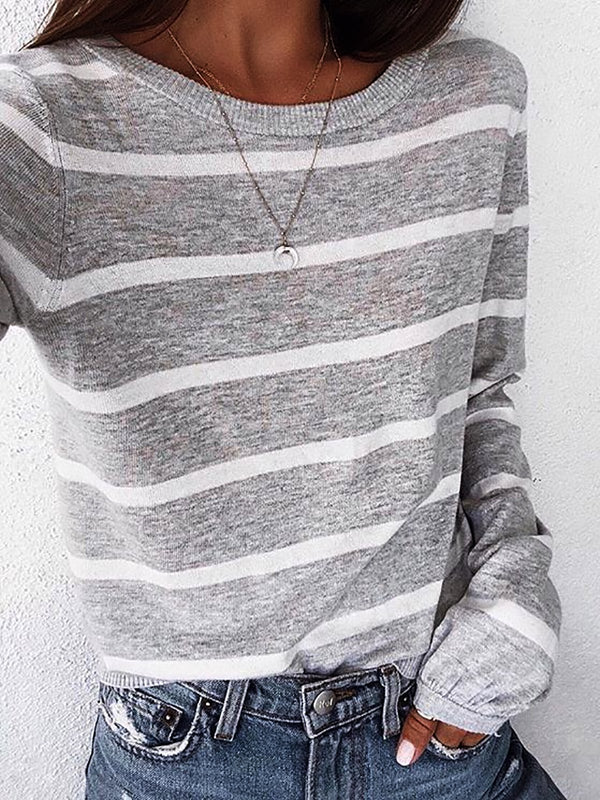 Striped Crew Neck Long Sleeve Shirts