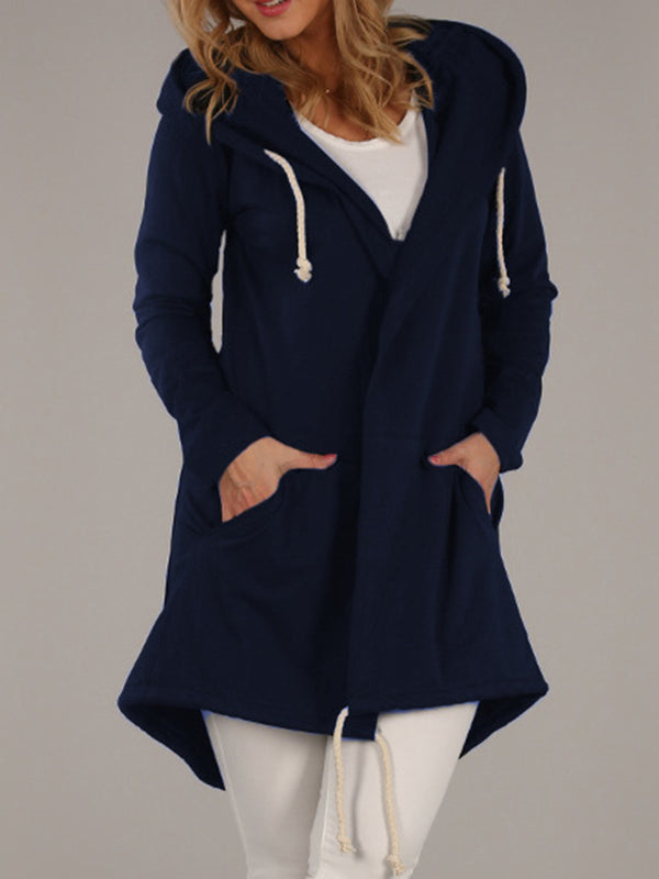 Women's Coats Solid Drawstring Pockets Casual Coat