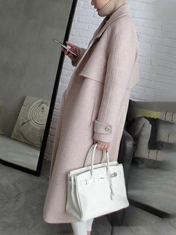 Elegant Long Sleeve Lapel Solid Pockets Woolen Long Coat