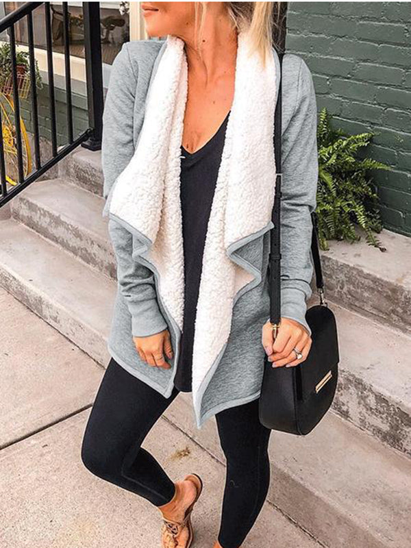 Gray Cotton-Blend Shawl Collar Casual Cardigans