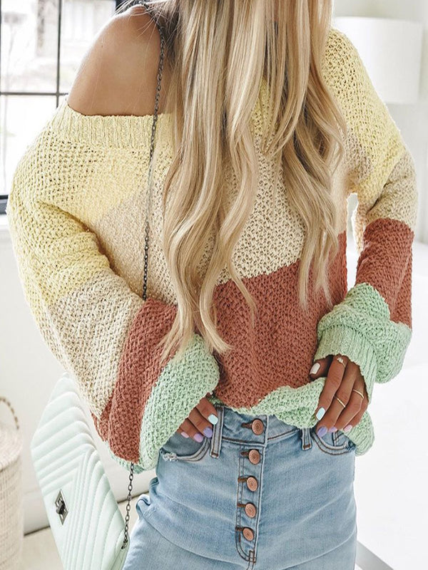 Frill Sleeve Crew Neck Casual Knitted Shirts & Tops