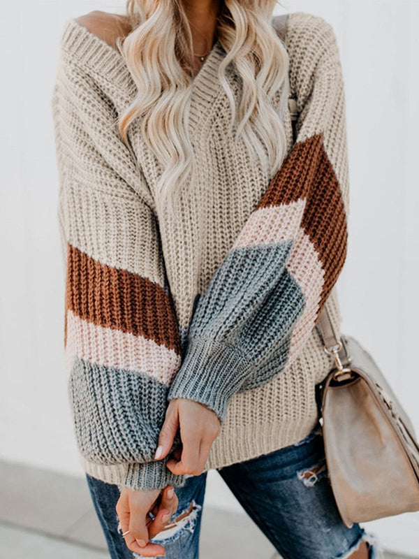 Casual Knitted V NeckLong Sleeve Sweater