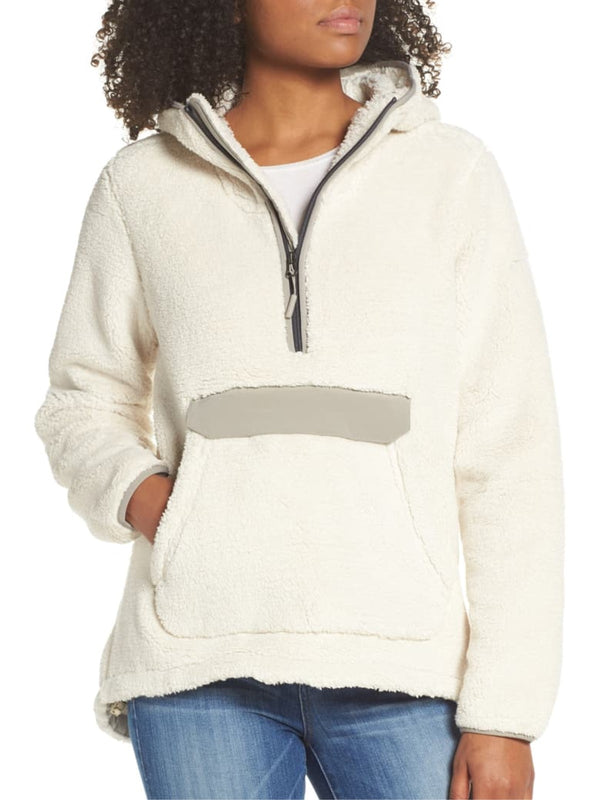 Casual Patch Zipper Long Sleeve Pockets Plus Size Hoodie