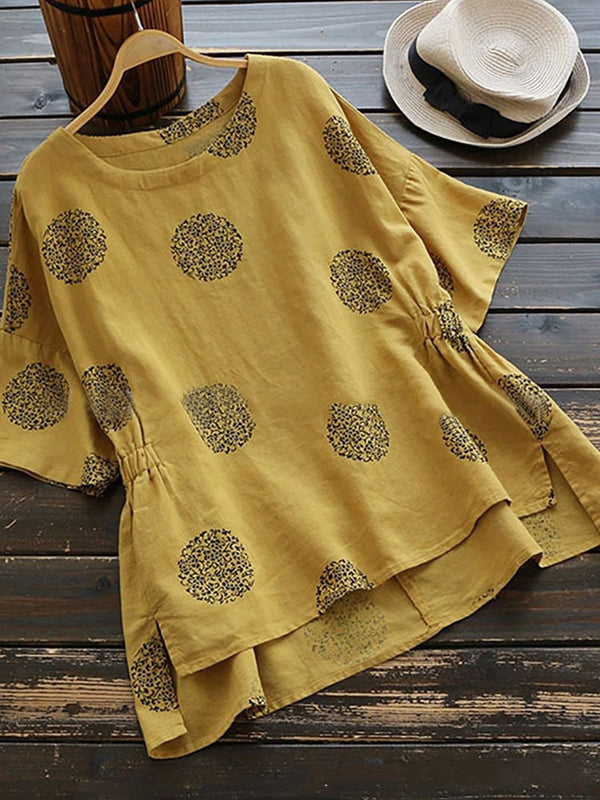 Crew Neck Casual Bell Sleeve Geometric Printed Linen Plus Size Blouse