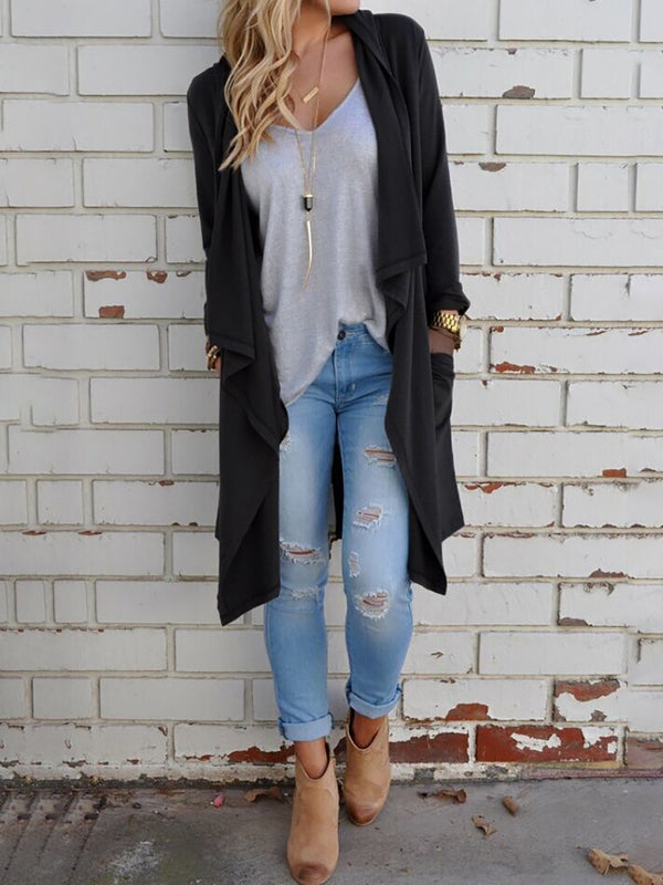 Casual Solid Cotton Long Sleeve Cardigan