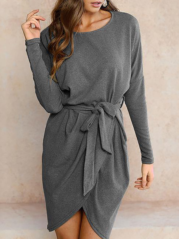 Shift Women Daily Long Sleeve Casual Paneled Patchwork Elegant Dress