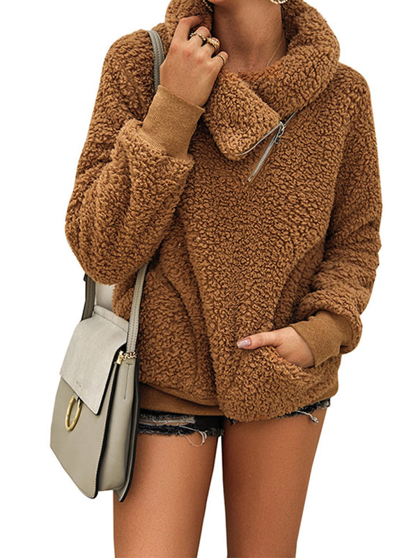 Faux Fur Casual Long Sleeve Zipper Outerwear