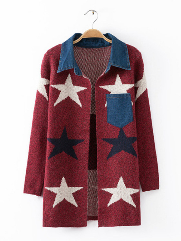 Star Wool Blend Patchwork Pockets Long Sleeve Cardigans