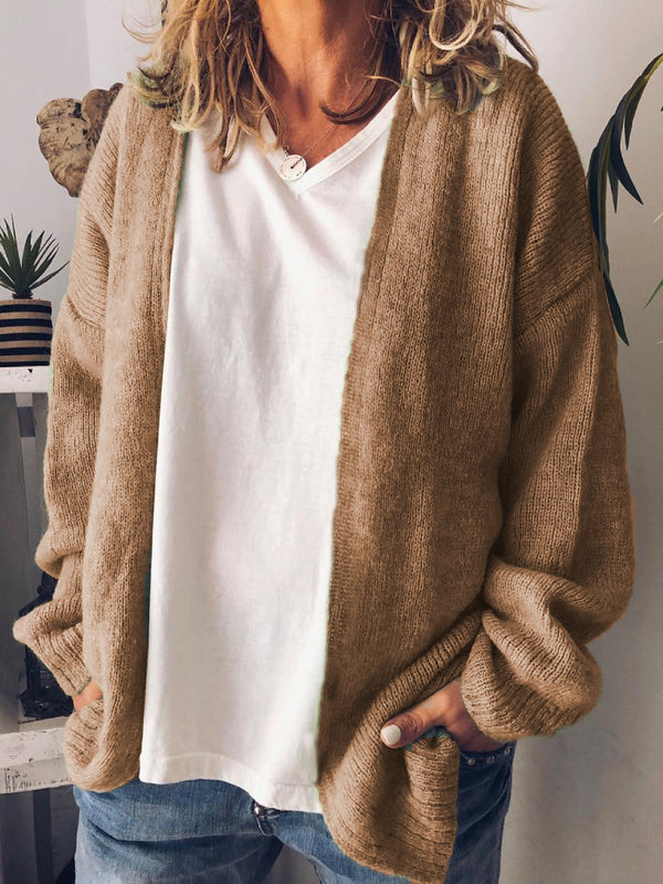 Plus Size Solid Casual Long Sleeve Cardigans
