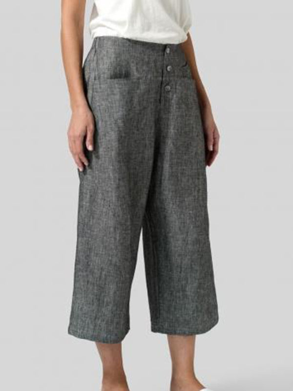 Solid Casual Pockets Wide Leg Pants