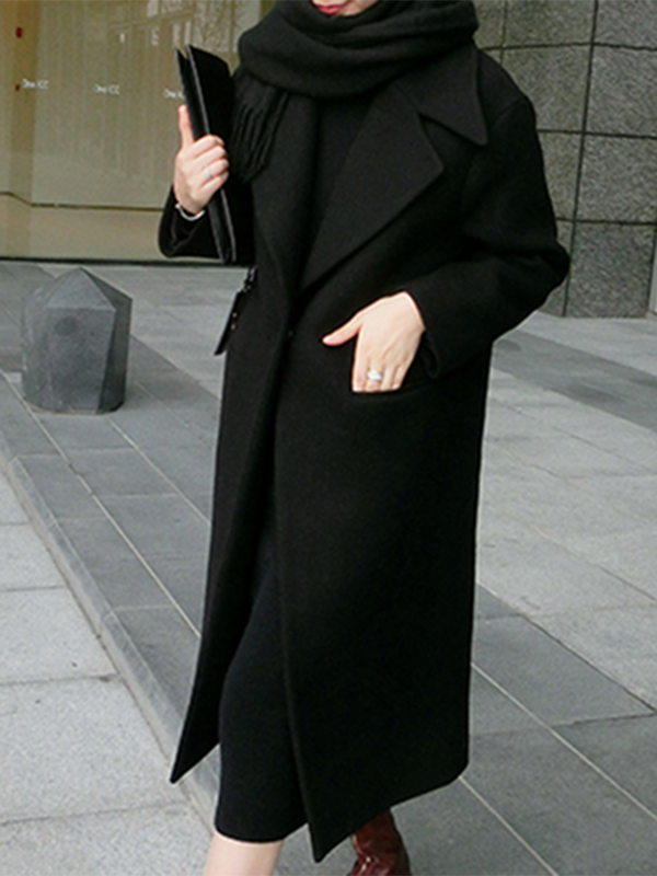 Casual Solid Long Sleeve Wool Blend Coat