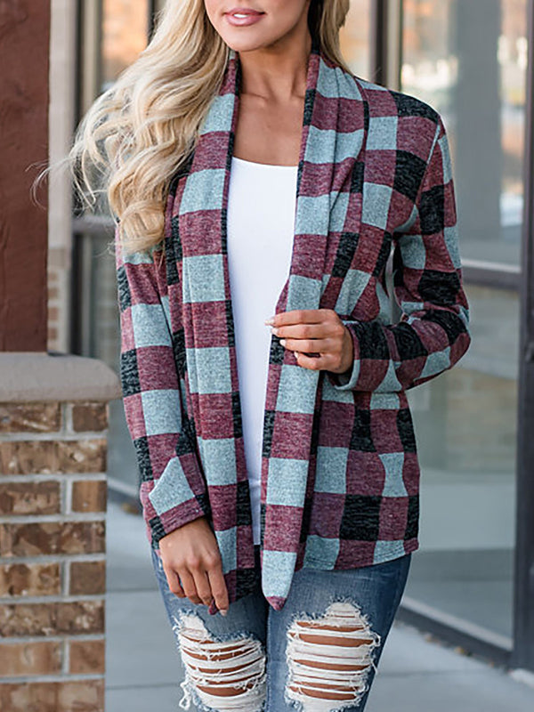 Plaid Patchwork Casual Cardigan
