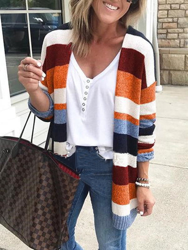 Multicolor Stripe Knitted Casual Women's Fall Cardigans