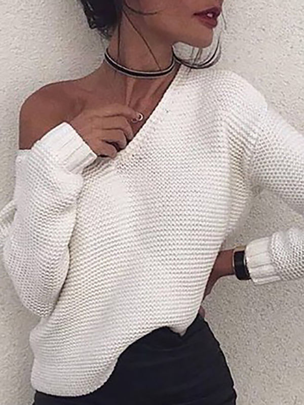 White Casual Solid V Neck Sweaters