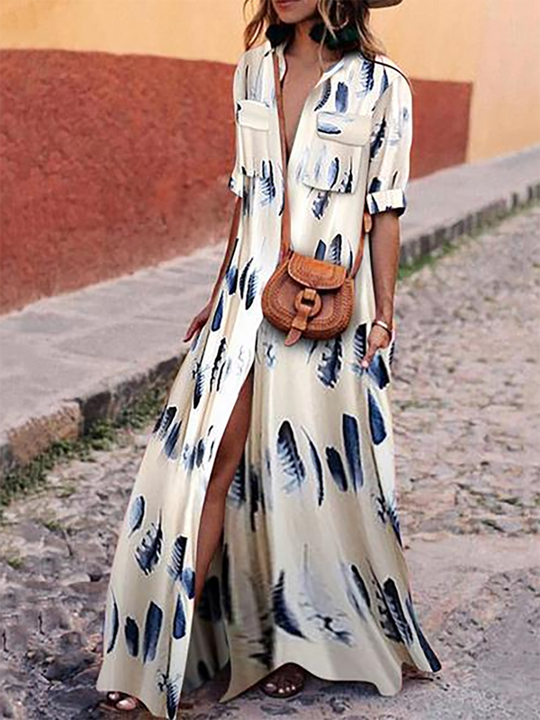 A-line Floral Printed Half Sleeve Midi Dress