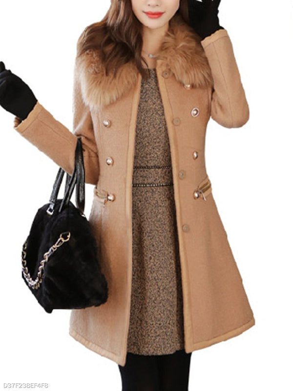 Faux Fur Collar Decorative Button Plain Woolen Coat