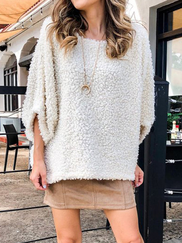 Beige Crew Neck 3/4 Sleeve Cashmere Sweaters