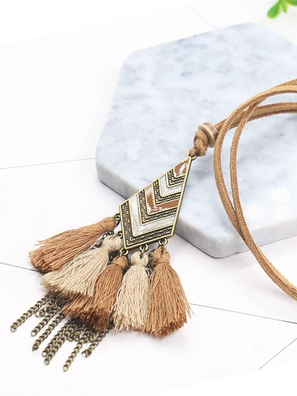 Vintage Women Fringed Knitted All Season Necklace