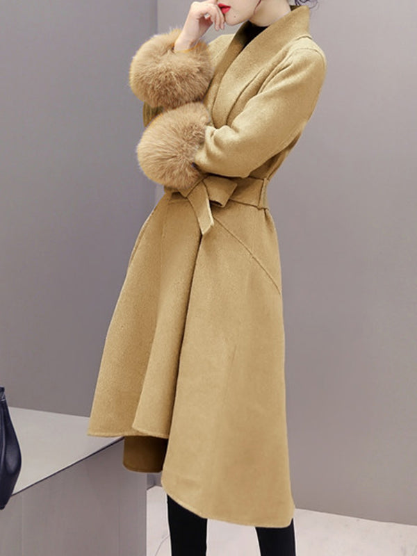 Fashion Solid Asymmetric Cashmere Coat with Belt