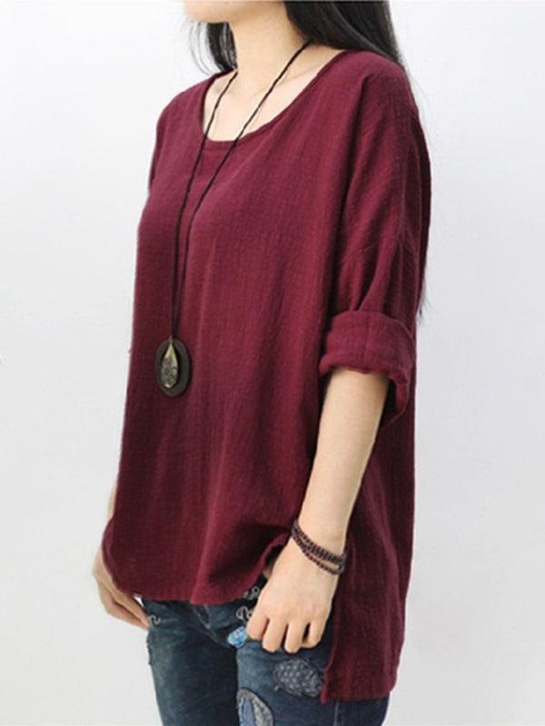Oversized Vintage Long Sleeve Casual Loose Tops