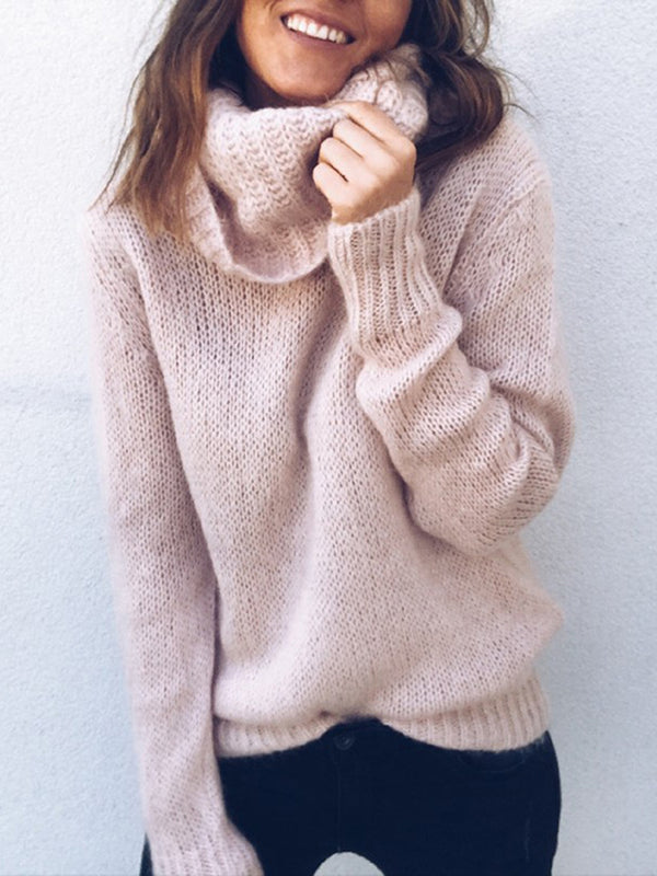 Paneled Casual Turtle Neck Solid Sweater