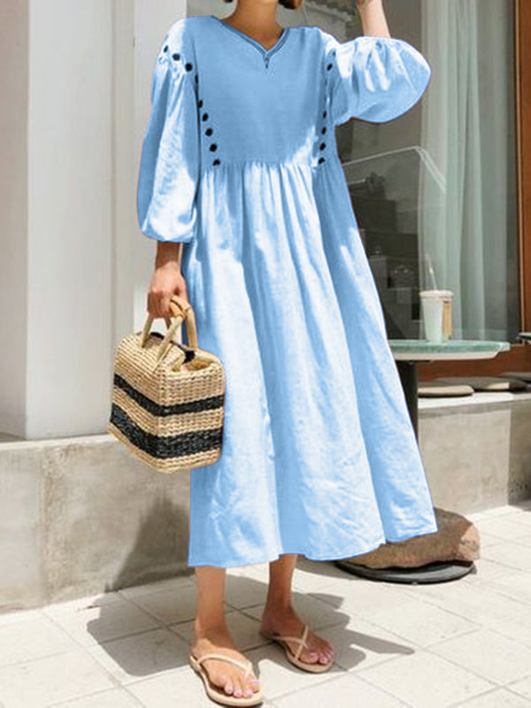 Buttoned V Neck Women Dresses Going Out Cotton Paneled Dresses