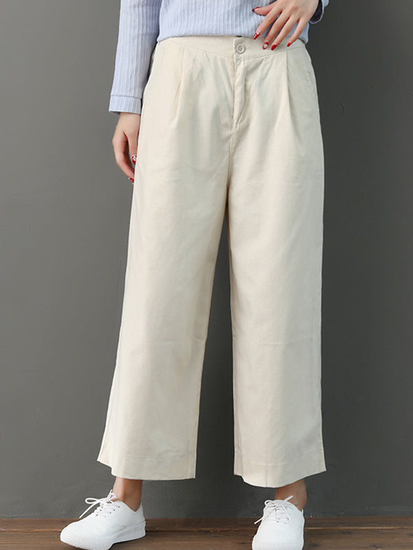 All Season Buttoned Pockets Simple & Basic Loose Pants