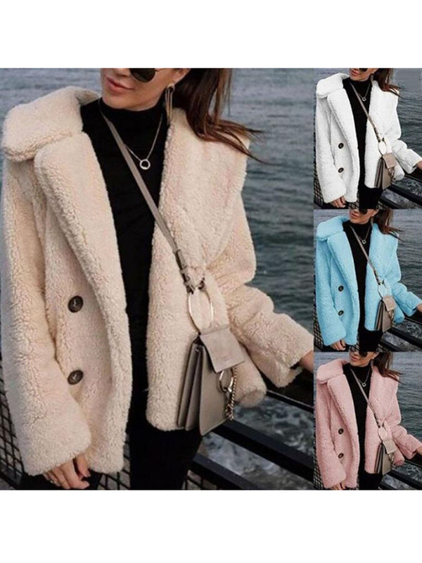 Cashmere Sweet Long Sleeve Solid Shawl Collar Teddy Bear Coats