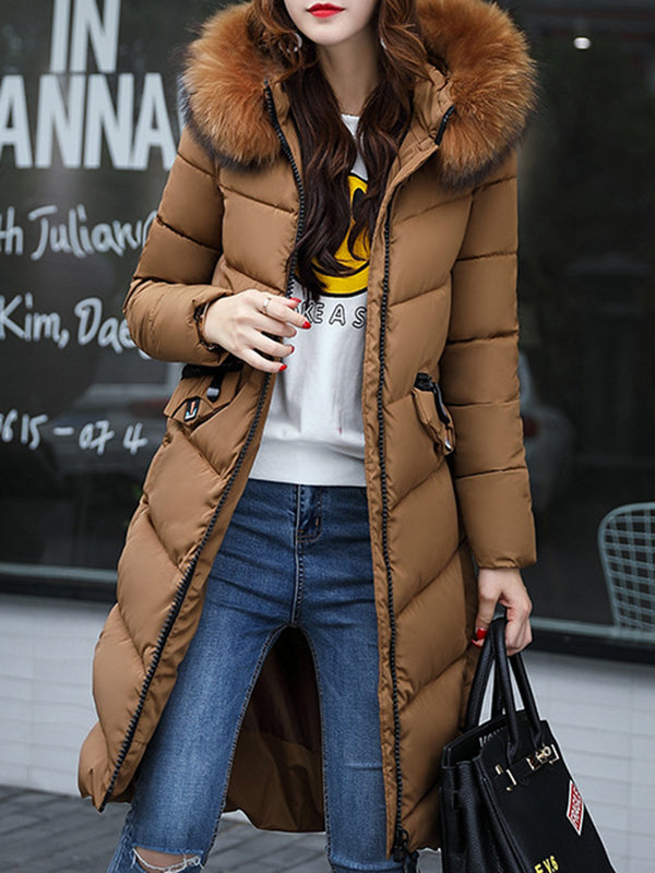 Faux Fur Shearling Solid Long Sleeve Hoodie Dwon Coat