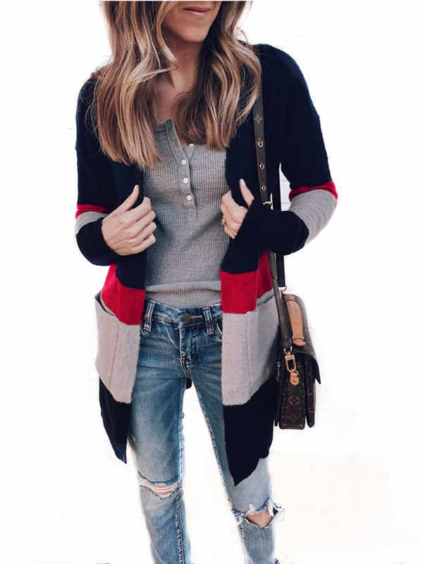 Long Sleeve Color-Block Striped Cardigans