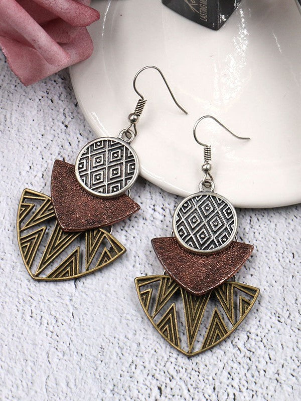 Multicolor Geometric Paneled Alloy Casual Earrings