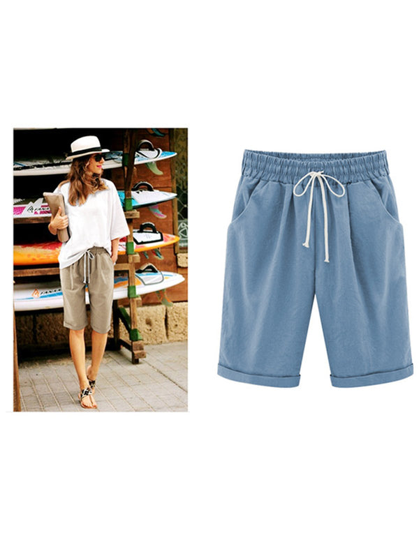 Casual Solid Cotton-blend Gathered Vacation Pant