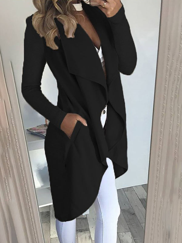 Cotton Long Sleeve Solid Casual Cardigan