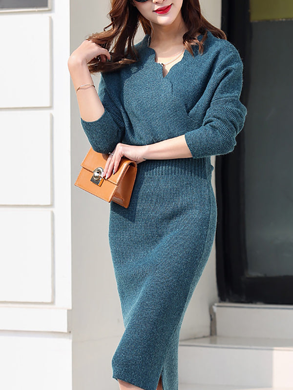 Long Sleeve Elegant Sheath V neck Sweater Dress