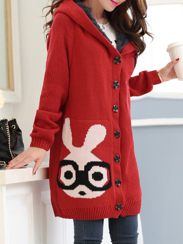 Fleece-lined Hoodie Rabbit Intarsia Cute Cardigan