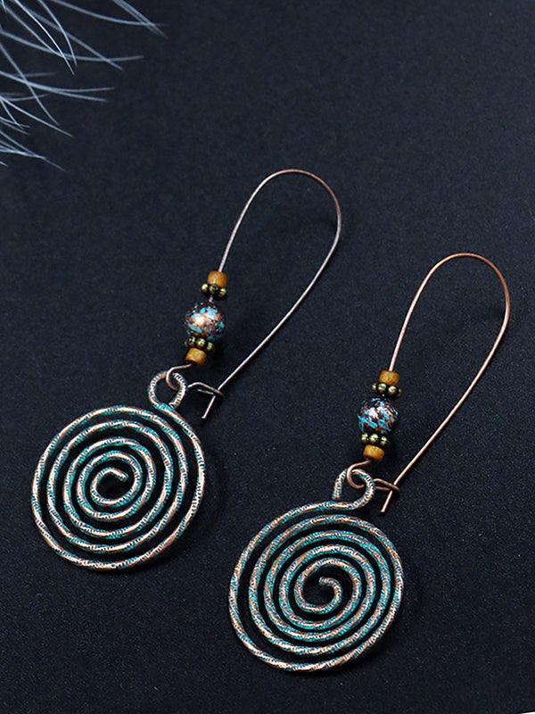 Womens Vintage Round Alloy Hollow Earings