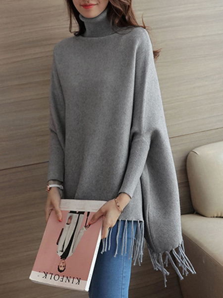 Casual batwing Fringed Plain Turtle Neck Poncho