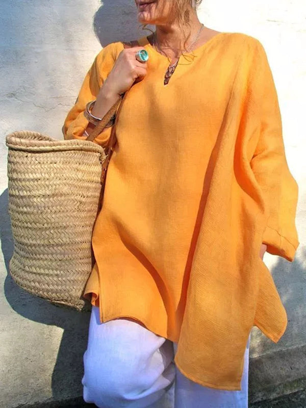 Long Sleeve Cotton Solid Casual Blouses