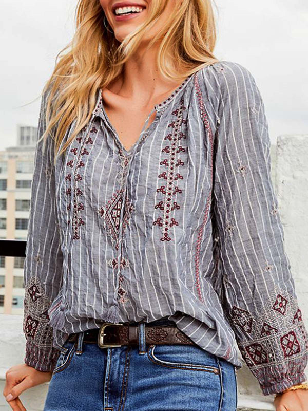 Casual Cotton-Blend V Neck Long Sleeve Shirts & Tops