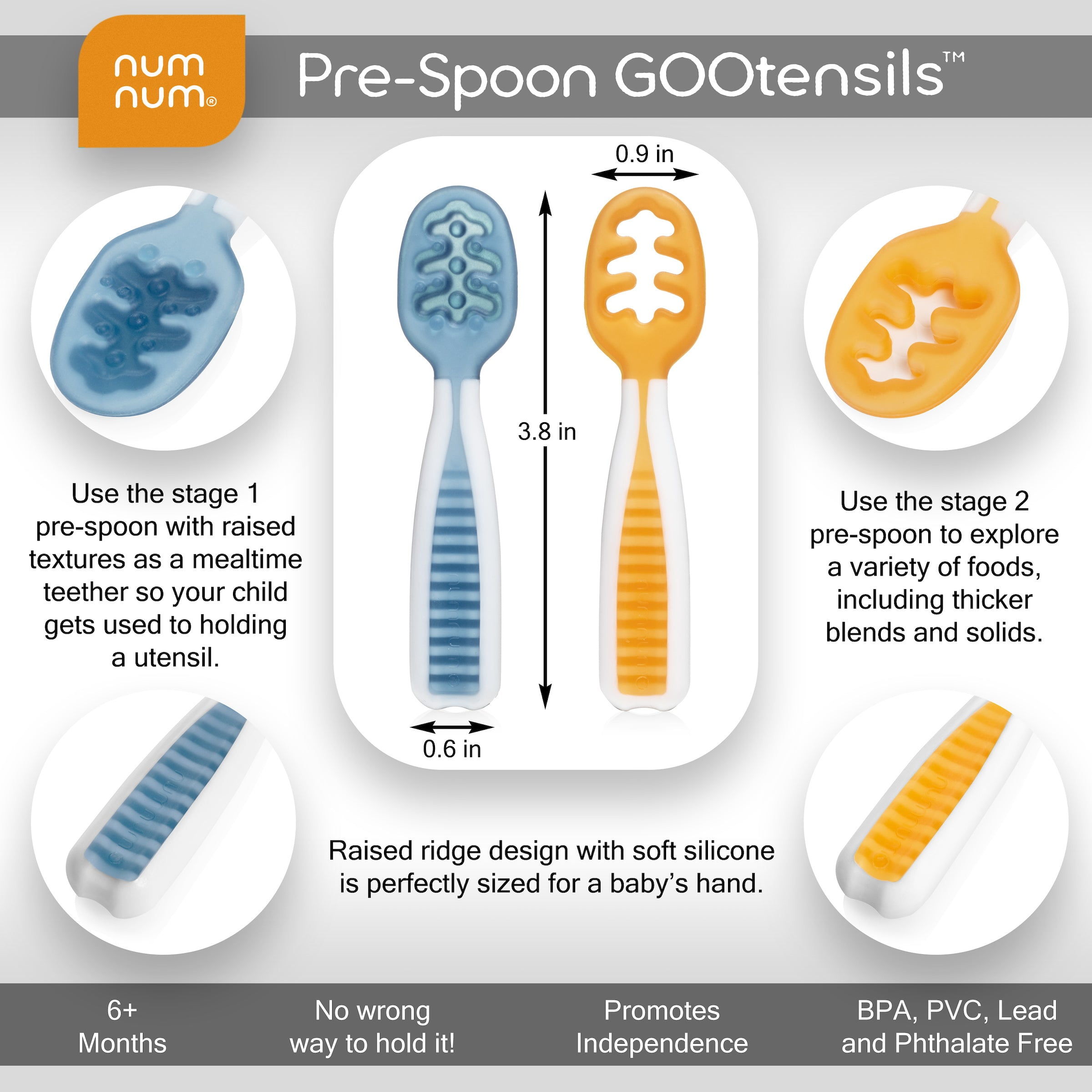 Pre-Spoon GOOtensils™ - Blue + Orange