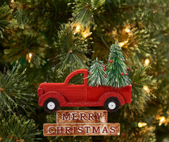 Holiday Farm Truck & Christmas Tree Ornament